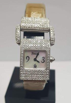 鴻圖當舖 Piaget 伯爵 Miss protocol 18K白金女庄石英鑽錶