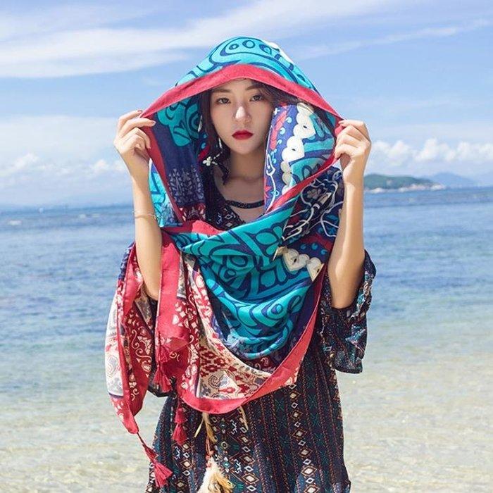 圍巾絲巾外搭防曬披肩女夏旅游拍照絲巾海邊度假必備薄圍巾超大紗巾沙灘巾