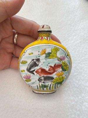 早期收藏-景泰藍-年年有魚琺瑯鼻煙壺
