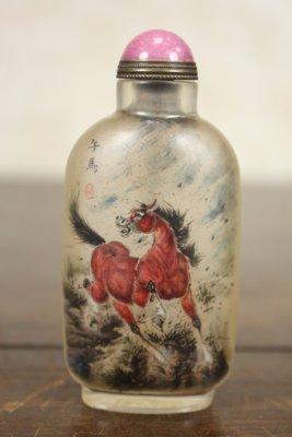 悅年堂 --- 玻璃 內畫 馬少宣 十二生肖 馬 鼻煙壺