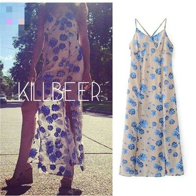 KillBeer:歐美For Love Lemons同款嬉皮民族風粉透膚花朵印花性感開叉雪紡連身裙洋裝長裙 fp h&m