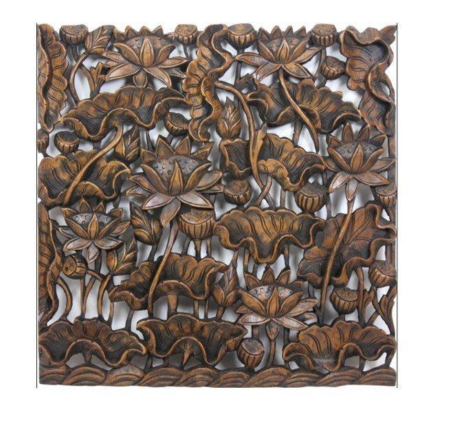 INPHIC-東南亞 家居飾品 泰國風格 木雕 掛飾 樓空板 蓮花