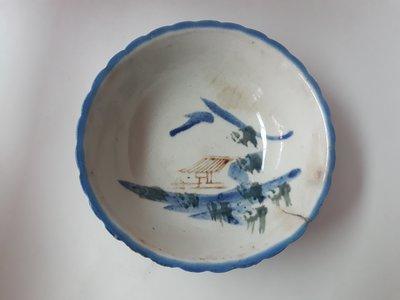 老爸的收藏品-清末--民窰菊瓣紋古瓷大碗 (瓷器-古董) 編號碗154