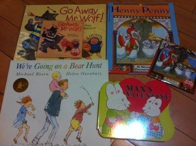 廖彩杏~ Go away Mr.wolf. Henny Penny .Bear hunt. Max's Valentine麥斯 4本+2CD