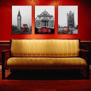 【優上精品】倫敦紅色汽車客廳無框畫三聯畫臥室裝飾畫風景歐美現代簡約壁畫(Z-P3206)
