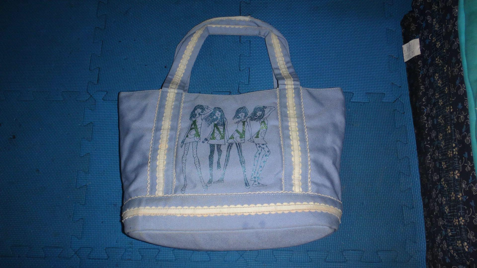 ~保證真品 Anna Sui 藍色單寧布料款手提包 水餃包 肩背包~便宜起標無底價標多少賣多少