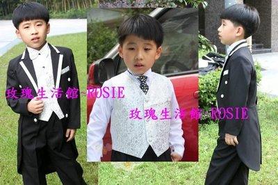 【玫瑰生活館】小紳士 兒童燕尾服, 男童禮服,花童裝6件套西裝,長褲,襯衫,領結腰封,背心