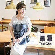 【木風小舖】轉賣東京著衣.蕾絲雕花拼接格紋上衣*藍S號
