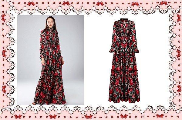 ⚡肯尼芭比⚡【保證實品拍攝】【最新款】紅色印花雪紡長裙☆°花朵連身洋裝☆°╮動物豹紋邊襯衫長裙【日本製】