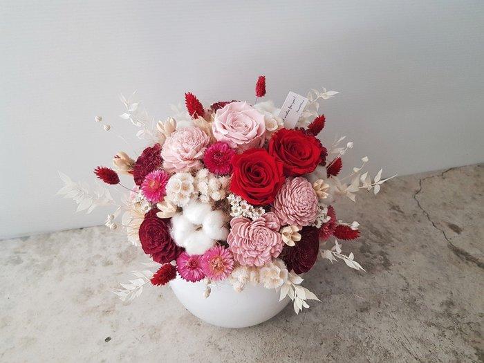 永生花+乾燥花|紅粉色萬用祝賀盆花|全省宅配歡迎自取【Flower&House花藝之家】