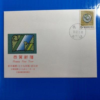 【大三元】臺灣低值封-特287專287新年郵票羊--加蓋發行首日戳79.12.1