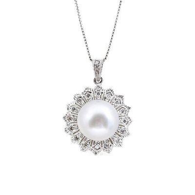 【JHT 金宏總珠寶/GIA鑽石專賣】0.17ct天然珍珠鑽墜/材質:18K(PP00041)