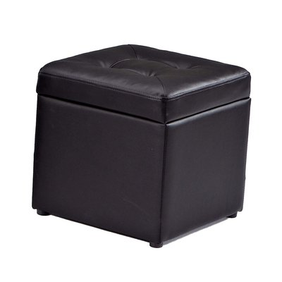 【在地人傢俱】19 吉祥購-小不點黑色皮置物方形百寶箱/收納椅/腳椅~小款 JX448-2〈滿5000另有折扣〉