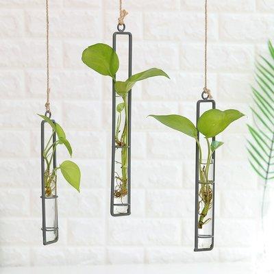 創意鐵藝玻璃花瓶麻繩掛件客廳墻上壁掛水培綠蘿植物容器懸掛壁飾一品閣