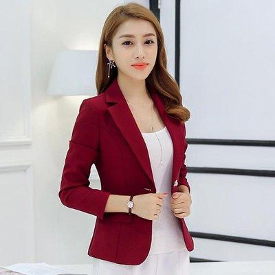 春秋女季新款小西裝韓版西服修身純色長袖顯瘦女外套    全館免運