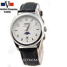 【JAYMIMI傑米】Valentino范倫鐵諾古柏不鏽鋼腕錶-高級日月星辰 真皮不鏽鋼錶殼 特價950 銀白