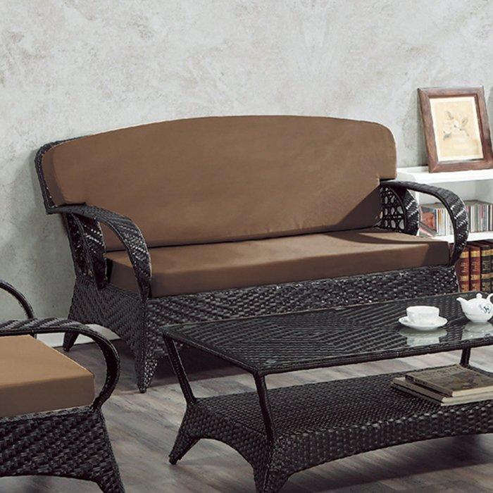 【在地人傢俱】19 樂樂購-咖啡色墊2人/二人/雙人籐椅/藤沙發椅 JL96-2