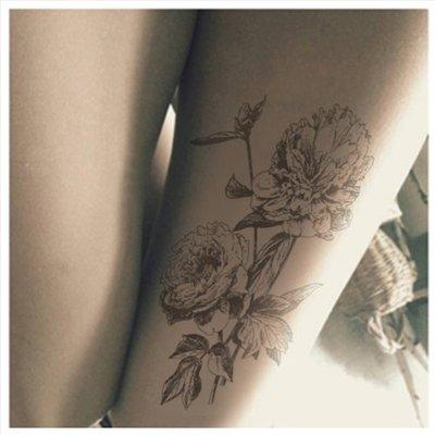 襪子 復古手繪鮮花玫瑰印花紋身絲襪