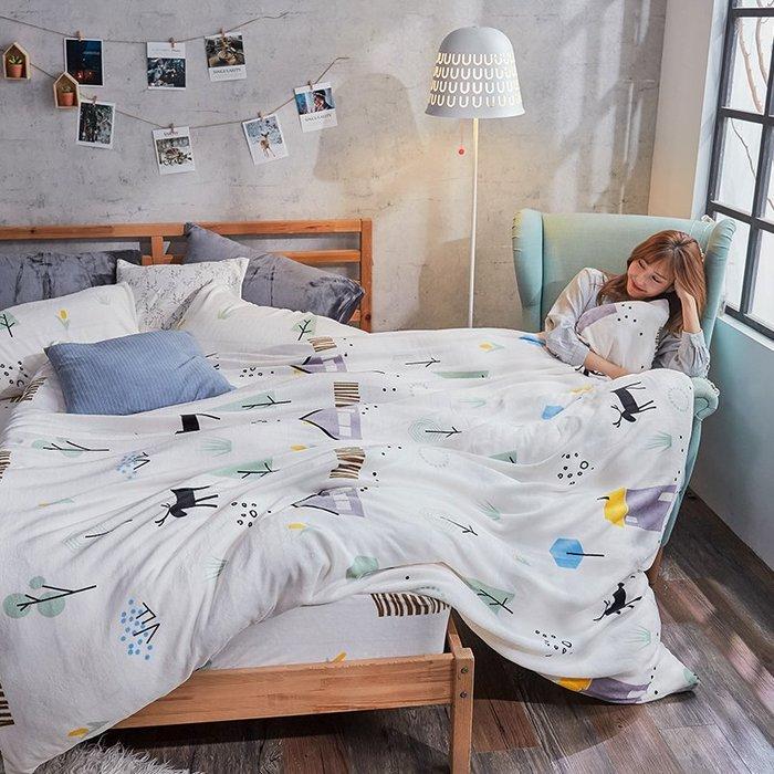 法蘭絨 / 雙人【蒂蒂小鹿】含兩件枕套  鋪棉床包薄被毯組  戀家小舖AAR215