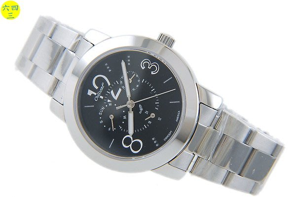 (六四三精品)不銹鋼精製.三眼六針ODIVAL 八世(真品)精準錶.藍寶石水晶玻璃.! 黑