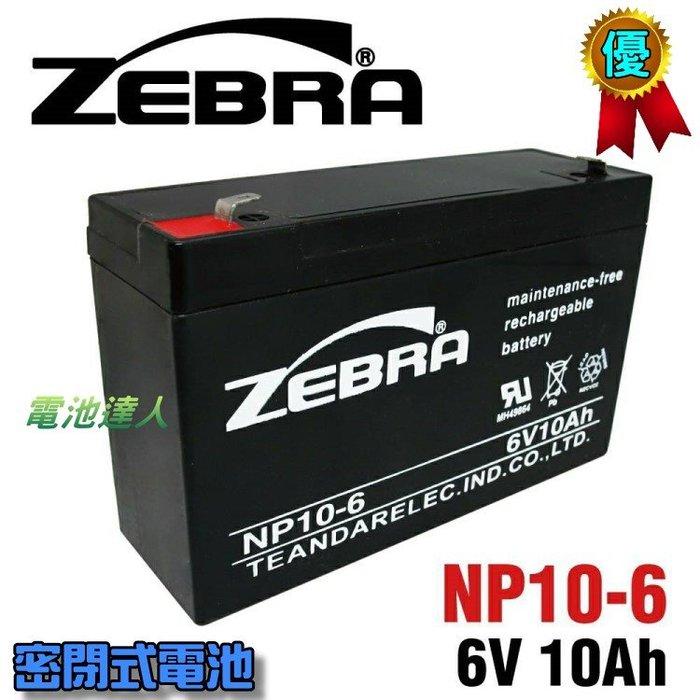 【電池達人】NP10-6 6V10Ah ZEBRA 斑馬 蓄電池 緊急照明 釣魚照明燈 手提燈 兒童玩具車 消防設備電池