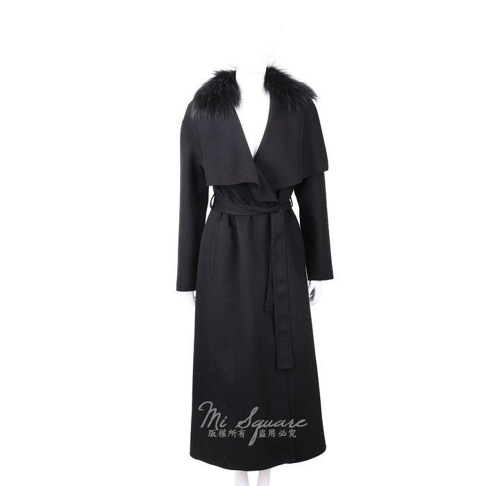 米蘭廣場 Manzoni 24 喀什米爾皮草領黑色綁帶手工羊絨大衣 1810050-01