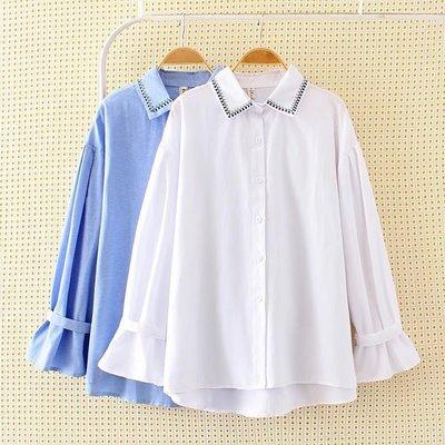 韓國連線-大碼女裝秋冬新款2色顯瘦寬鬆喇叭袖棉襯衫CX02480