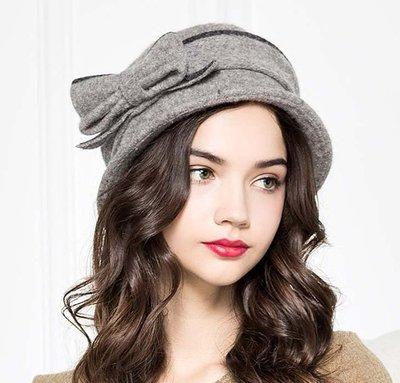 新款初秋上新 蝴蝶結羊毛針織毛呢帽 精緻唯美禮帽 小盆帽