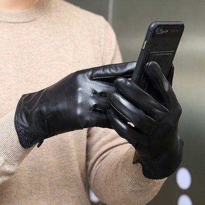 觸控手套 真皮手套-羊皮薄款絲襯防風男手套73wm11[獨家進口][米蘭精品]