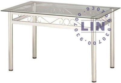 【品特優家具倉儲】357-03餐桌洽談桌富貴電鍍圓管玻璃餐桌