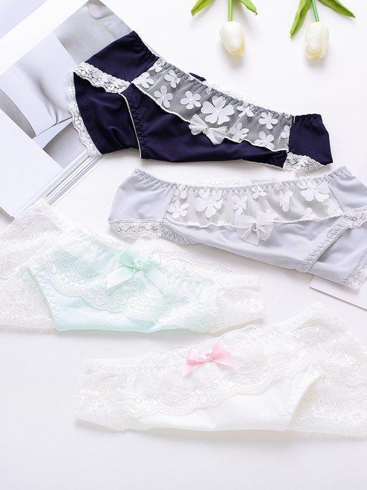 伊~格調出口日本訂單內褲小清新可愛女生牛奶絲蕾絲內褲中低腰夏季三角褲