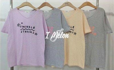 ::: i-MelOn :::100%韓國空運 正韓【現貨】V領橫條紋星星TWINKLE短袖T恤上衣※紫