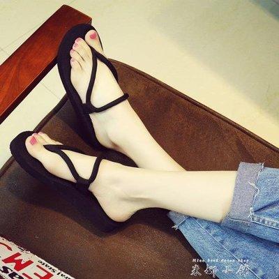 韓版簡約夾腳人字拖女夏季厚底防滑涼拖鞋時尚休閒學生外穿沙灘鞋