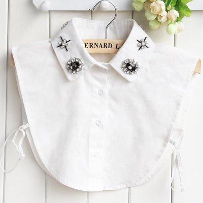 假領子襯衫領片-水晶花卉鑲鑽純棉女裝配件2色73vk32[獨家進口][米蘭精品]