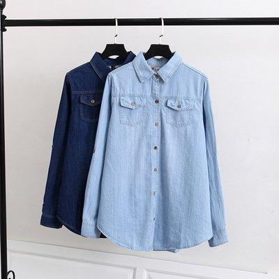 02480 韓國連線-大碼春裝新款2色顯瘦胸前2個口袋牛仔襯衫