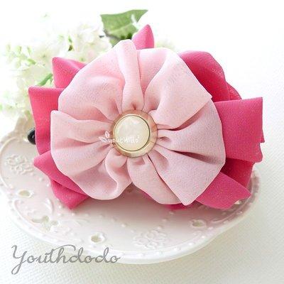 出口韓國。甜美桃粉色金絲光點點淺粉花朵...