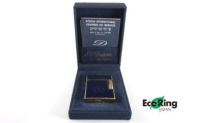 [Eco Ring]*St Dupont Lighter / Metal /Navy+Gold/OMEP15/No Gas*Rank B -207000166-