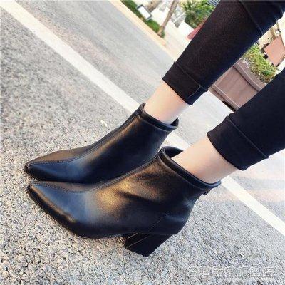 短靴女後拉錬粗跟韓版高跟鞋尖頭裸靴皮靴馬丁靴子