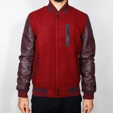 全新真品 破壞者 NIKE DESTROYER JACKET--全新真皮羊毛棒球外套 紅色L號