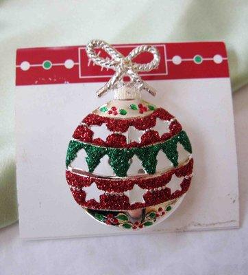 【戴大花2】Vintage古董飾品- 聖誕彩球 綠紅金粉  濃濃Xmas 含原標牌 溫馨  別針  #B347