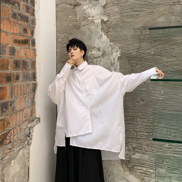 FINDSENSE 2019 秋季上新 G19 日系不規則拼接不對稱長袖素面襯衫 男裝 上衣