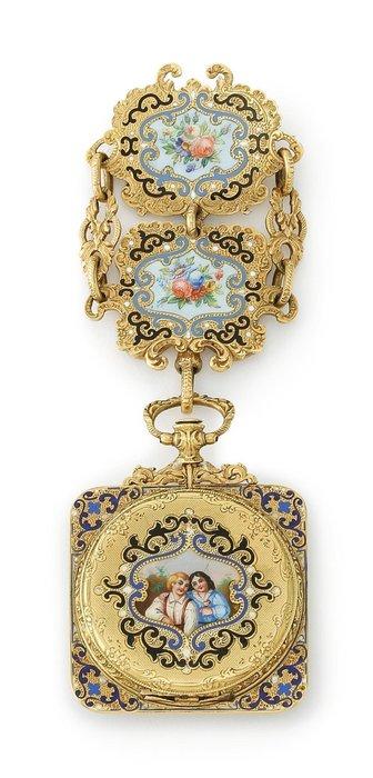 【家與收藏】頂級珍藏歐洲百年古董18世紀博物館級精緻華麗手繪琺瑯微型畫古董18K金仕女珠寶珠寶綴鍊/懷錶/袋錶