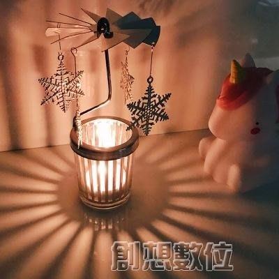 蠟燭少女心放映室浪漫許愿旋轉燭台走馬燈 送女生  DF