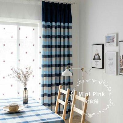 Mini Pink 宅貨舖--藍色地中海 英倫風格 格子拼接純色設計窗簾 米字旗盾牌刺繡紗 尺寸客製化【K367】訂製款