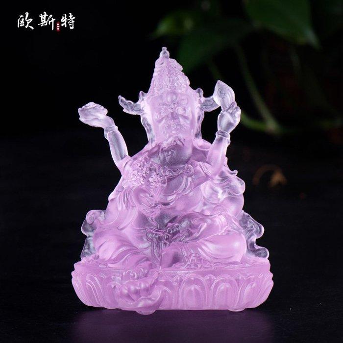 藏傳佛教 琉璃佛像 紅財神佛像 風水擺件 五姓財神 【九州風水】