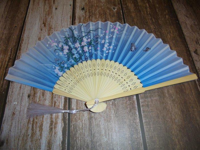 漂亮 竹製 (藍)日式風格 摺疊扇子 夏季手扇