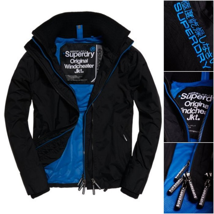 極度乾燥 Superdry Pop Zip Windcheater 網眼內襯 經典款 縮口 立領 風衣 外套 黑/藍
