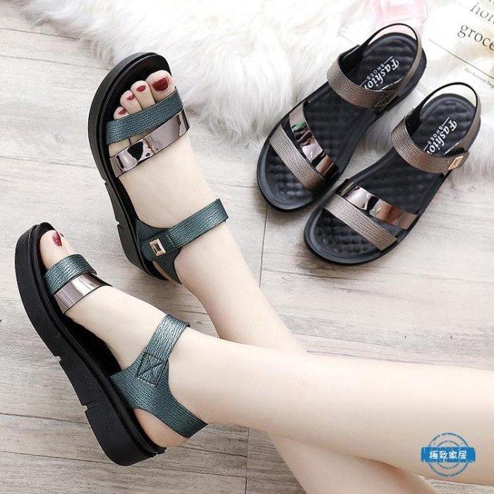 媽媽鞋女士媽媽鞋涼鞋子夏季中年中跟厚底楔形中老年人女鞋百搭
