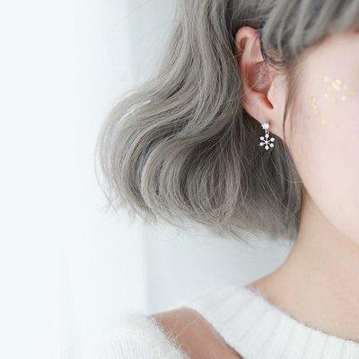 耳環 小巧 耳飾 簡約 大方 銀春春雪花耳釘氣質冬季款耳環女韓國小耳墜精致迷你耳飾簡約