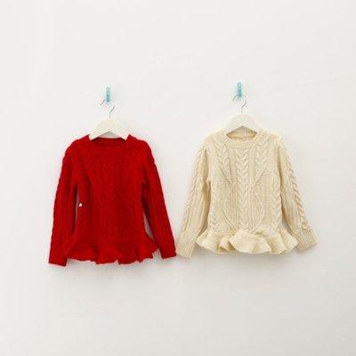 (#9紅現貨)Amber's Clothes 素面樹葉針織裙式上衣兩色(米色.紅色)